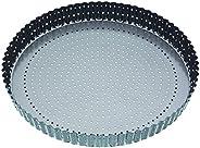 Master Class Crusty Bake Quiche-bakvorm, 30 cm, geribbeld, anti-aanbaklaag, rond, grijs, blik
