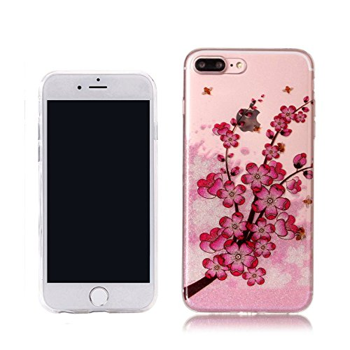 Cover iPhone 7,RUIST Custodia Shock-Absorption Bumper e Anti-Scratch TPU Silicone Gel Gomma Ultra Sottile Polvere dargento Flash Protettiva Shell Case Cover per Apple iPhone 7 (4,7 Pollice) - Dreamca Fiore di prugne