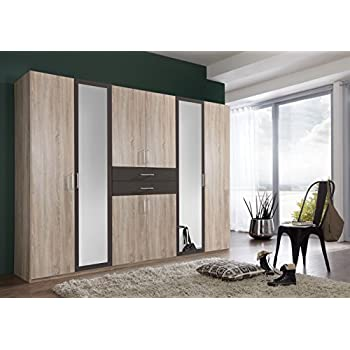 mirror effect furniture. Extra Large German DIVER 6 Door 270CM Wardrobe Oak Effect Mirror With Drawers Mirrored Storage Bedroom Furniture O