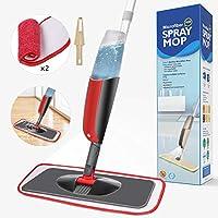 Aiglam Spray Mop Mocio Microfibra con spruzzatore Acqua, Scopa di Spazzole Rotanti e Spazzolone con Spray Polverizzatore con 2 Panni in Microfibra e Un Pennello