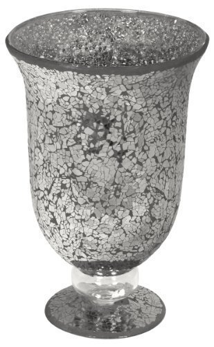 Large Mosaic Glass Hurricane Lamp in Black