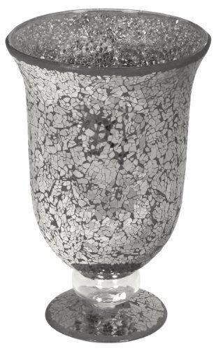 Large Mosaic Glass Hurricane Lamp in Black