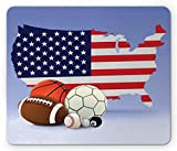 Americana Mouse Pad, American Map and Sport Balls Basketball Football Competition Matches Gaming MousePad Office Mouse Mat Purple Grey
