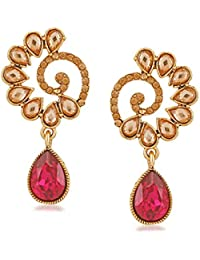 Rich Lady Gold Plated Red Peacock Style Earring For Women And Girl