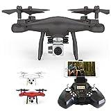 BZLine Drohne Drohnen für Erwachsene Kinder, 2.4G Höhe Halten HD Kamera Quadcopter RC Drone Wifi FPV Live Hubschrauber Schwebeflug mit Headless Modus, Nachtlichter, Einfach Zu Steuern (Schwarz)