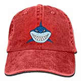 Hoswee Cappellino da Baseball/Berretto da Baseball, Scary Shark Fierce Plain Adjustable Cowboy cap Denim Hat for Women And Men