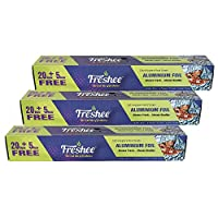 Freshee 25m Aluminium Silver Kitchen Foil Roll Paper Pack of 3| 10.5 micron thick|Food wrap| Bacteria Resistant| Disposable 100% Recyclable Food Parcel| Hookah| Fresh Food Grade Quality