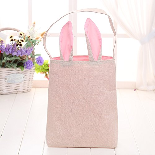 Kicode Rosa Ohr 9.8 * 11.8 * 7.8 Zoll Hasenohr Ostern-Einkaufstasche Segeltuch Wiederverwendbare Diy Eier tragen Bücher (Behandeln Leinwand)