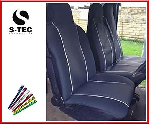 LDV CONVOY 96-05 REAR WHEEL DRIVE - S-tech | Stylish Durable Heavy Duty | Black Van Seat Covers White Piping 2+1 With FREE S-TECH PEN