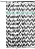 InterDesign Chevron Duschvorhang Textil | pflegeleichter Duschvorhang aus Stoff mit verstärkten Löchern | Badewannenvorhang mit Zickzack-Muster | Polyester grau/türkis