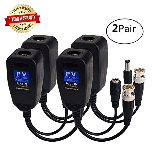 Video Balun HD-CVI/TVI 720P/1080P Passive Active Baluns Adapter with BNC DC  Power Connector to UTP RJ45 Cat5 Cat6 Cable Transceiver Transformer for