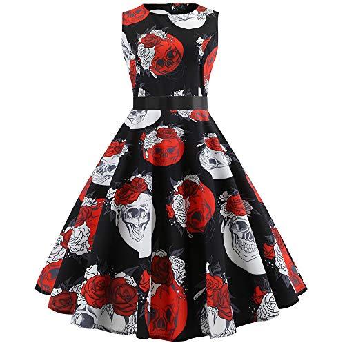 YWLINK Damen Klassisch Retro äRmellos Faltenrock O Kragen MäDchen Bunt Blume Rockabilly Party Prom Swing Kleid(L,D Schwarz)
