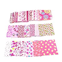 YUnnuopromi 50Pcs 10x10cm Floral Cotton Craft Fabric, Sewing Quilting Bundle Squares Patchwork Lint DIY Scrapbooking Quilting Dot Pattern Artcraft Pink