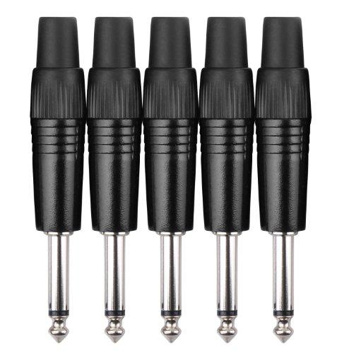 Pronomic - Set di 5 adattatori per presa jack da 6,3 mm (per allacciamento via cavo, alta qualità, stabile), Nero