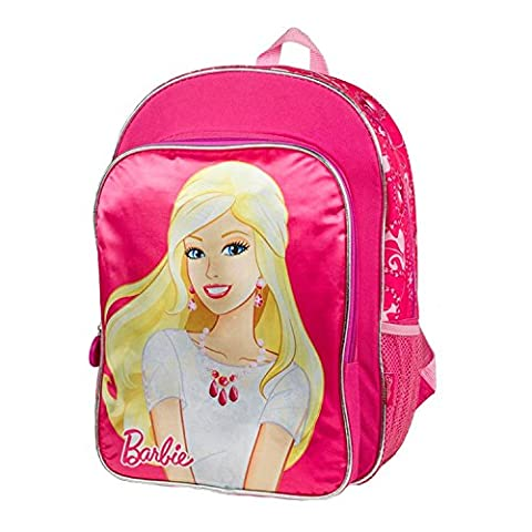 Barbie Deluxe Super Cute Excellent Designed Girls School Bag Large Backpack 16 Inch (Pink)