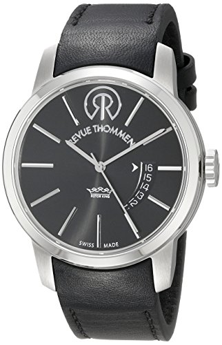 Revue Thommen Metro - Lifestyle Men's Automatic Watch with Black Dial Analogue Display and Black Leather Strap 105.01.02