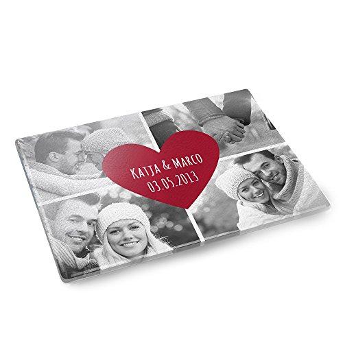 Personello® Glasschneidebrett mit Fotos, Wunsch-Namen und Datum (personalisiert), Schneidebrett mit Fotos bedrucken, Geschenke für Hobbyköche, originelles Fotogeschenk