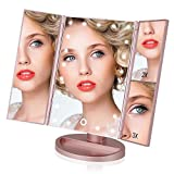 EASEHOLD Miroir Maquillage Lumineux LED Tri-Pli 21 LED 180° Batterie USB Grossissement 2x3x - Rose d'or