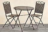 Set da giardino casa di campagna, un tavolo e due sedie in metallo