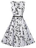 Femme Swing Dress Robe, KeepSa Vintage Floral 50s sans manches avec ceinture