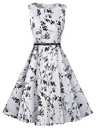 Tag Design-junioren Tee (Swing Kleider 50er Jahre Elegant, KeepSa Sommer Ärmellos Partykleider Cocktailkleider Retro Vintage Rockabilly Casual Kleid Dress)