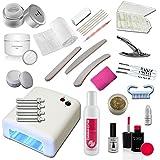 Kit de introducción Nail abridor Estudio con, con gel de fibra de vidrio, 1-Phasengel y los accesorios con una gran cantidad de accesorios del arte del clavo