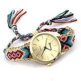 Rosepoem Hecho a mano étnico Ver relojes de pulsera Correa trenzada Pulsera de la amistad Para damas