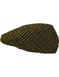 Shropshire Supplies Mens Flat Cap Wool Blend Fully Lined Tweed Dogstooth Houndstooth Herringbone