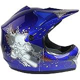 Casco protector para niños - Para motocross / todoterreno / ATV / dirt bike / BMX - Azul - M (55-56 cm)