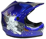 Kinder Motocross-Helm - für Offroad/Quad/ATV/Dirt Bike/BMX - Blau - XS (51-52 cm)