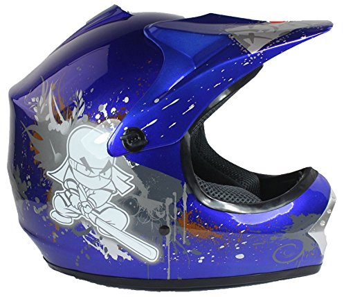 Kinder Motocross-Helm - für Offroad/Quad/ATV/Dirt Bike/BMX - Blau - XS (51-52 cm)