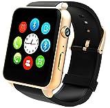 ELEGENCE-Z Smart Watch, SIM-Karte mit Pulsmesser Touchscreen Bluetooth für Android und IOS (Gold)
