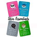 Gesichtsmasken mit Tier Motiven (4 Stück) - Spass & Pflege - Tuchmasken mit Hyaluron, Bambusextrakt, Aktivkohle oder Rosenwasser