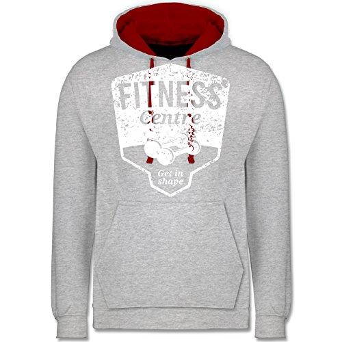 CrossFit & Workout - Fitness Centre - Kontrast Hoodie Grau Meliert/Rot