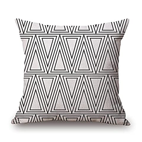 MaxG Home Decor Cotton Linen Geometric Shape Black and White Triangle Square Throw Pillow Cases Cushion Covers For Sofa Bed 18X18 inches