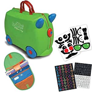 Trunki by Melissa & Doug Wheeled Carry-On Kids Luggage - Jade Green with Coordinating Saddle Bag and Decorative Sticker Set