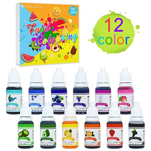 Coloranti alimentari - 12 colori x 10ml di colorante alimentare liquido per cuocere, decorare, colorare zucchero fondente e cucinare - coloranti alimentari concentrati per glassa, slime e prelibatezze