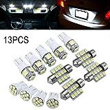 Lzndeal Luz LED,Kit de Luces LED Blanco de 13 Piezas/Juego de Coche para lámparas de matrícula de Domo Interior de Serie