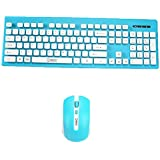 [Sponsored]Thin Wireless Desktop Keyboard&Mouse Combo Set 2.4 GHz Connection For Laptop Blue