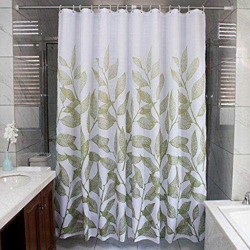Rideau de douche, épaisseur de polyester imperméable à l'eau Protection de l'environnement Mildiou 180cm Largeur * 200cm de haut (branche verte) Rideau de douche ( Size : 150*200cm (59*79inch) )