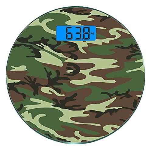 Digitale Präzisionswaage für das Körpergewicht Runde Camo Ultra dünne ausgeglichenes Glas-Badezimmerwaage-genaue Gewichts-Maße,Klassische amerikanische Kommando-Uniform inspirierte Muster-Waldfliese, -