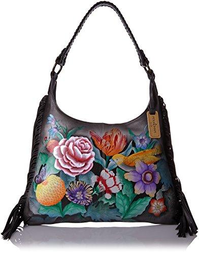 Anuschka 20% Frühlingsverkauf - handbemalte Ledertasche, Schultertasche für Damen, Geschenk für Frauen, handgefertigte Tasche- Fringe Shoulder Hobo Bag (Vintage Bouquet 586 VBQ) (Handtasche Fringe Hobo)