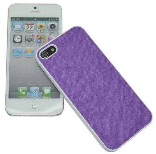 Original SunCase ® Leder-Schale (Handy-Cover) für Apple iPhone SE / iPhone 5S / iPhone 5 in argyle-antik Vollnarbig-Lila