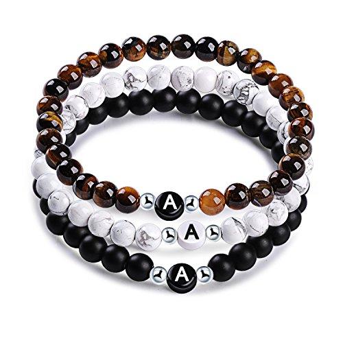 MicLee Namensarmband Freundschaftsarmband aus Natursteinen mit Buchstabenperlen von A-Z, 3er Set Perlenarmbänder Energiearmband für Damen Herren, mit Geschenkbox Grußkarte