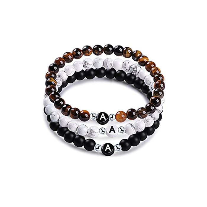 MicLee Namensarmband Freundschaftsarmband aus Natursteinen mit Buchstabenperlen von A-Z, 3er Set Perlenarmbänder…