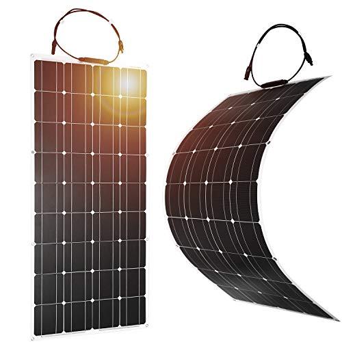 Dokio Potente y multiusos flexible panel solar 100 W       (1) Flexible y cómodo.       Puede ser curvado a un máximo de 30 grados de arco, lo que lo hace ideal para el almacenamiento en espacios reducidos o zonas abarrotadas. Este panel solar con...
