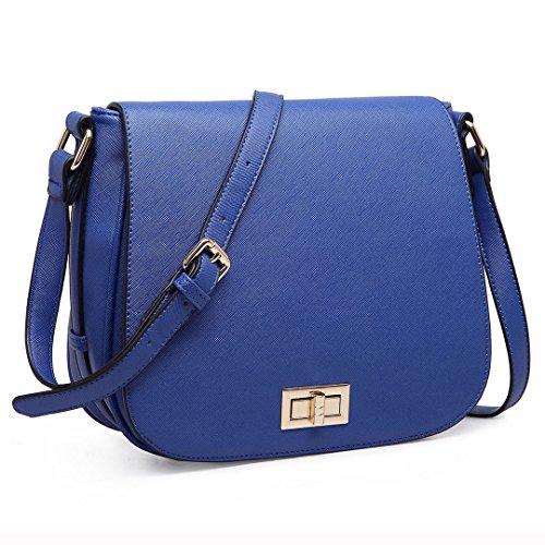 Miss LuLu Damen Tasche PU Leder Cross Body Schultertasche Handtasche lässiger Stil (LT1662-Schwarz) LT1662-Dunkelblau
