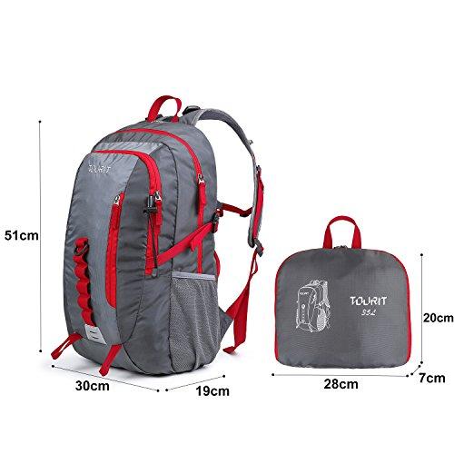 TOURIT Zaino Pieghevole 35L Ultraleggero Zaino da Viaggio Zaino Escursioni da Viaggio per Trekking Hiking Campeggio Rosso Grigio