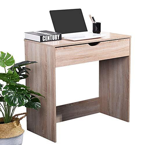 Coavas Laptoptisch Computertisch Schreibtisch Arbeitstisch mit 1 Schubladen Malen Lernen für Kinder und Erwachsene, ECO-Spanplatte, Eiche 79x39,5x75cm -