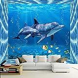 Amazhen Moderne kreative Delphin unterwasserwelt 3D tapete kinderzimmer Wohnzimmer Fernseher Sofa Hintergrund Mural 3D Cartoon tapeten,336cmx238cm
